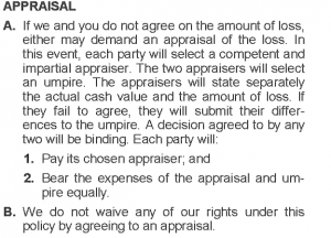 appraisal-clause-total-loss-insurance-claim